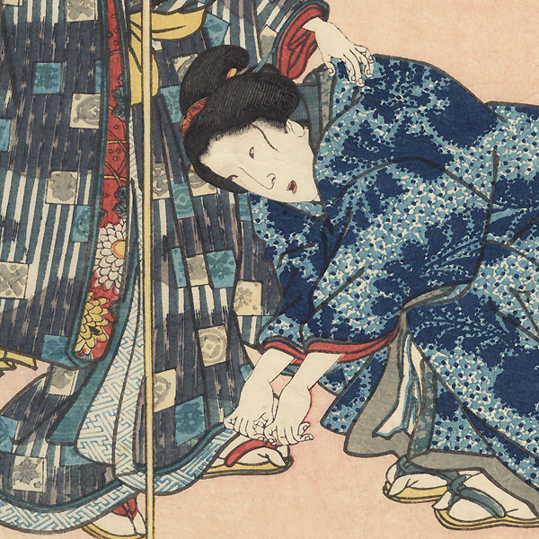 Fujikawa: Women Travelers, 1855 by Hiroshige (1797 - 1858) and Toyokuni III/Kunisada (1786 - 1864)