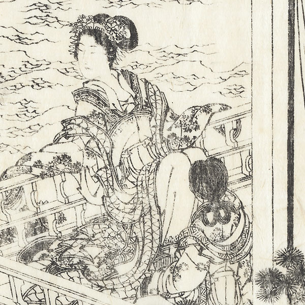 Beauty on a Verandah, 1833 by Hokusai (1760 - 1849)