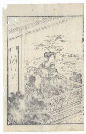 Beauty on a Verandah, 1833 by Hokusai (1760 - 1849)