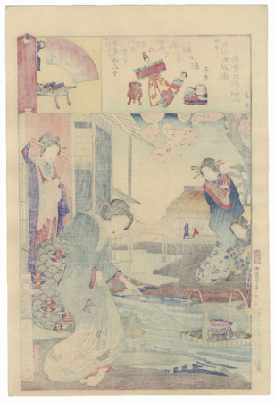Kokonoe and Otomusume of Daimonji-ro and Momotaro of Nakanacho, 1884 by Chikanobu (1838 - 1912)