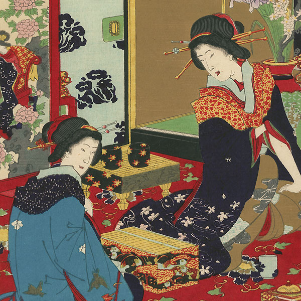 Futomaki and Ariwara of Tsunoebi-ro, 1883 by Chikanobu (1838 - 1912)