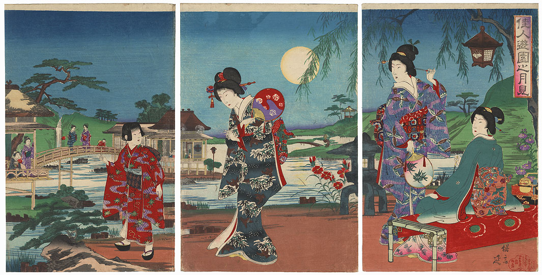 Moon Viewing in a Garden, 1891 by Nobukazu (1874 - 1944)