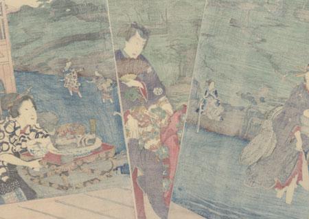 Summer: Enjoying the Cool of Evening at the Otonashi River in Oji, 1861 by Toyokuni III/Kunisada (1786 - 1864) and Hiroshige II (1826 - 1869)