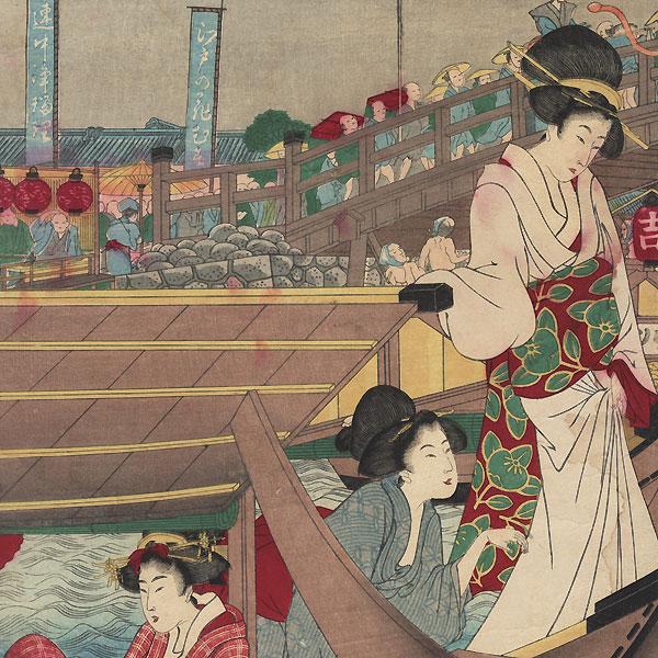 A True Picture of the Opening of the Season at Ryogoku Bridge in Edo during the Bunka Era, 1889 by Utamaro (1750 - 1806)