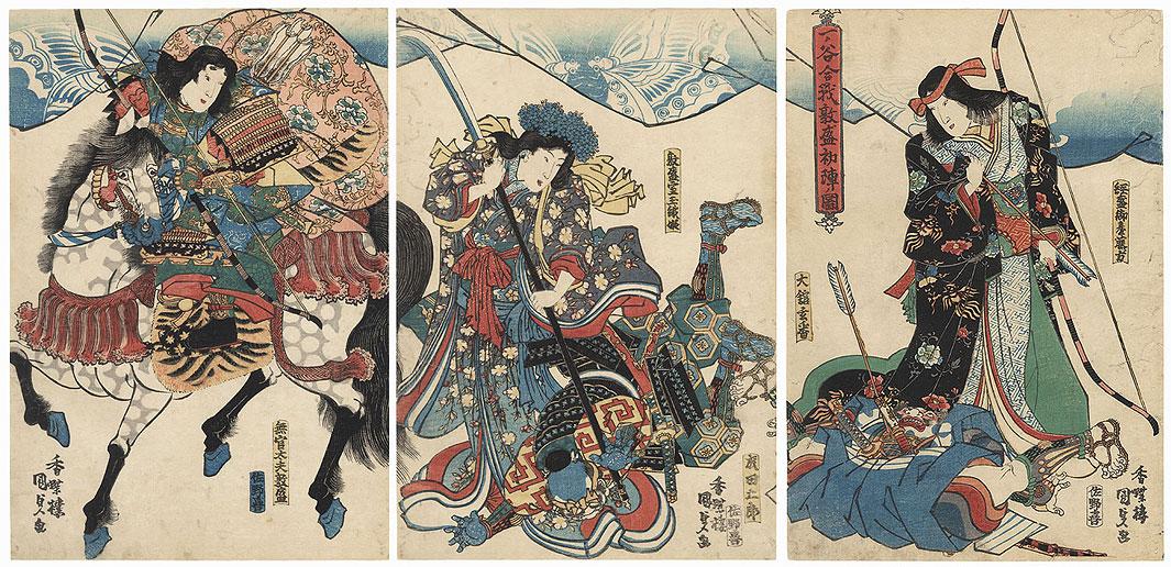 Atsumori's First Campaign at the Battle of Ichi-no-Tani, 1830s by Toyokuni III/Kunisada (1786 - 1864)