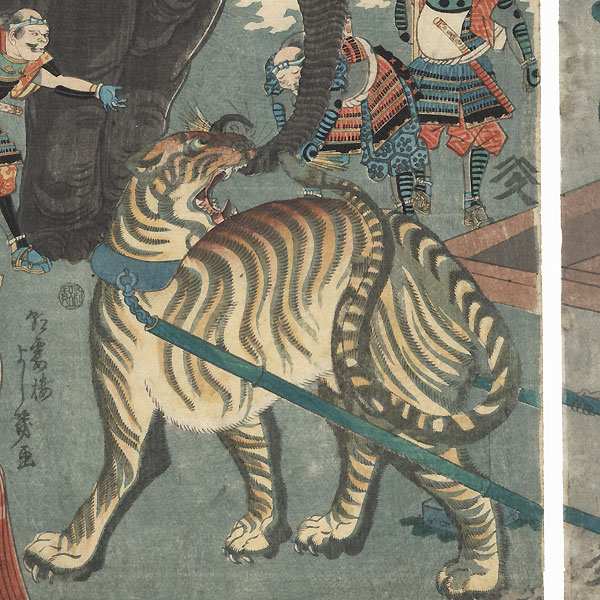 In the Illustrated Record of the Taiko, Masakiyo Captures Two Wild Beasts Alive and Brings Them to the Camp of His Highness, 1863 by Yoshiiku (1833 - 1904)