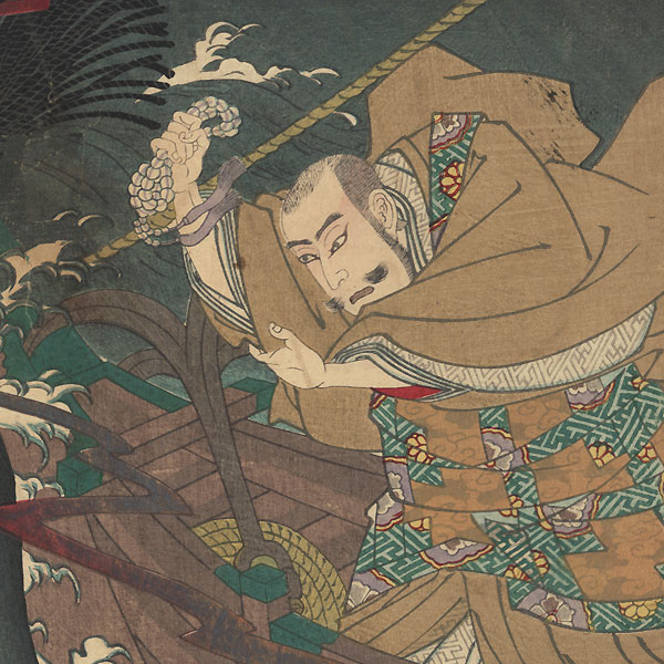 Nichiren Calms a Storm with Buddhist Text on His Way Into Exile at Sado Island, 1886 by Kunisada III (1848 - 1920)