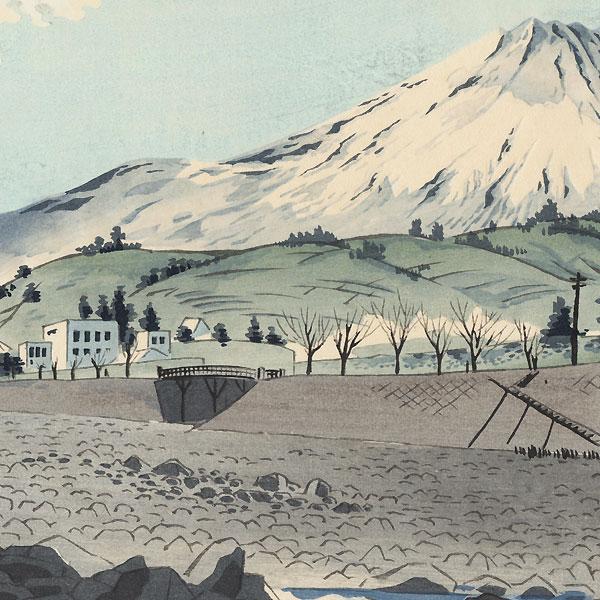 Fujimi Bridge in Suruga by Tokuriki (1902 - 1999)