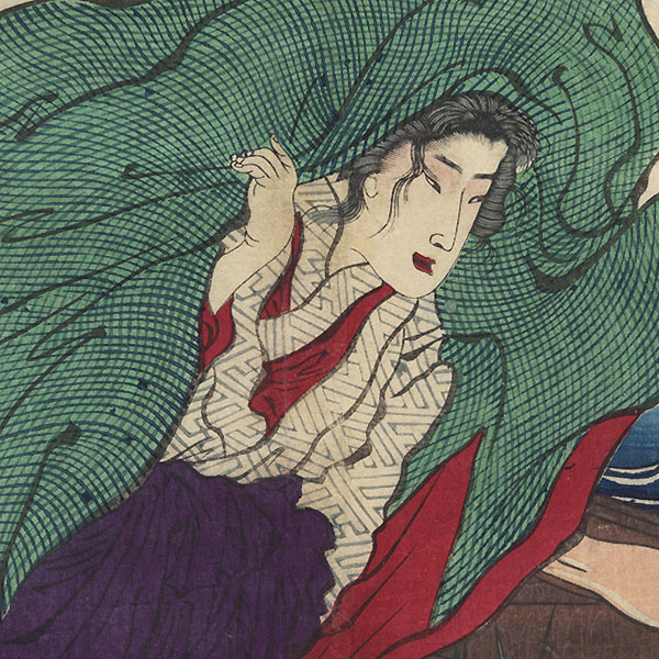 Wife at a River Crossing Late at Night Acts Like Madwoman in a Popular Drama, 1875 by Yoshiiku (1833 - 1904)