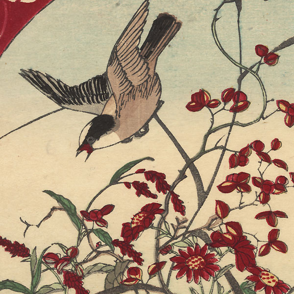 Bird, Bee, and Red Flowers by Meiji era artist (unsigned)