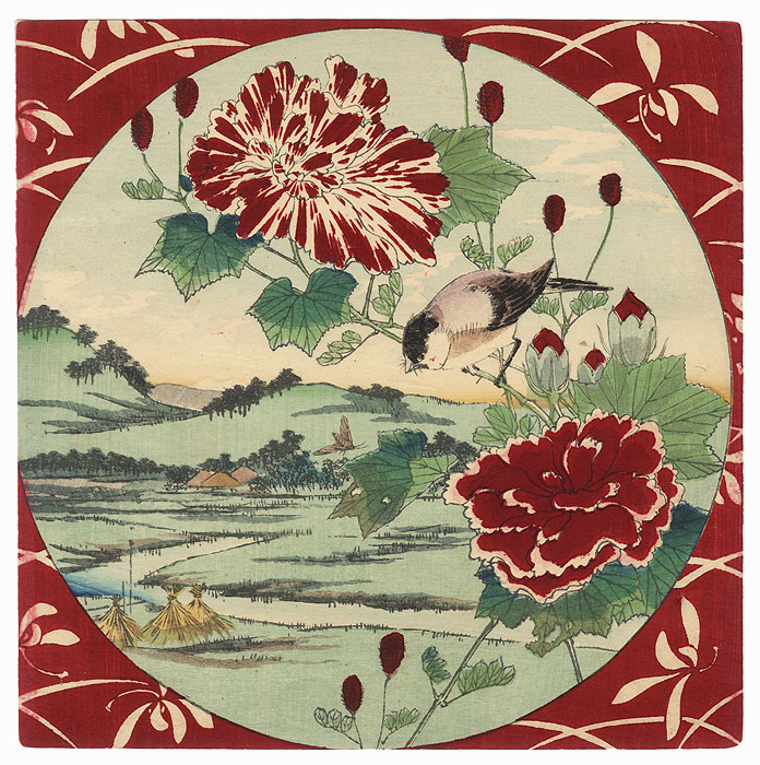 Bird, Red and White Flowers, and View of a River and Fields by Meiji era artist (unsigned)