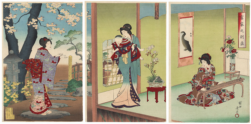 Villa of a Wealthy Family, 1889 by Chikanobu (1838 - 1912)