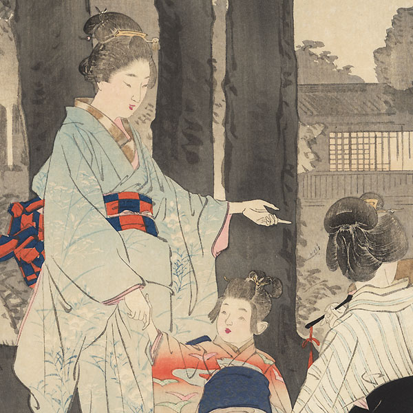 Famous Views of Flowers and Beautiful Women: Bush Clover at the Ryuganji Temple in Kameido by Gekko (1859 - 1920)
