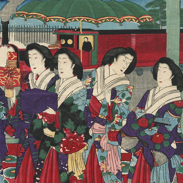 Meiji Emperor and Empress Visiting a Railroad Station, 1881 by Chikanobu (1838 - 1912)