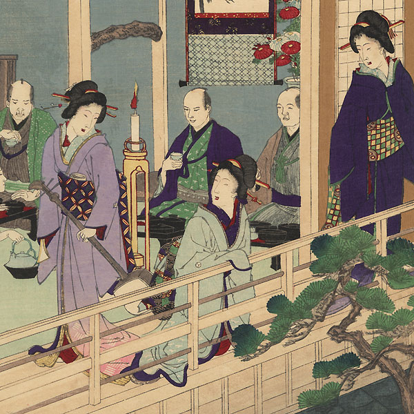 The Tenth Month: Wealthy Merchants Celebrating Ebisu, 1889 by Chikanobu (1838 - 1912)
