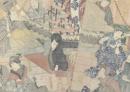 Celebrating a Hit Performance on the Third Floor of the Theater, 1864 by Toyokuni III/Kunisada (1786 - 1864)