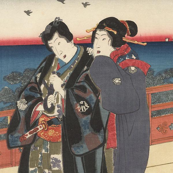 Dawn at the Villa in Naniwa, 1855 by Toyokuni III/Kunisada (1786 - 1864)