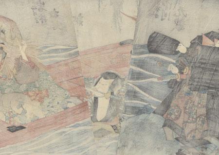 Crazed Beauty in a Boat, 1838 by Toyokuni III/Kunisada (1786 - 1864)