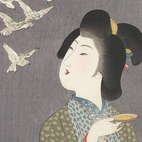 Beauty Feeding Birds by Yamamoto Shoun (1870 - 1965)