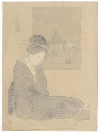 Beauty Writing Kuchi-e Print by Gekko (1859 - 1920)