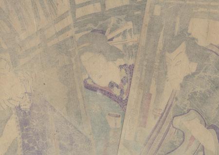 Confrontation near a Bridge by Kunichika (1835 - 1900)