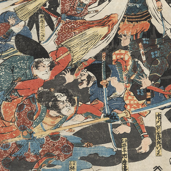 The Soga Brothers Achieve Their Goal in the Night Attack in the Foothills of Fuji on the 28th Day of the Fifth Month, 1193, circa 1836 by Kuniyoshi (1797 - 1861)