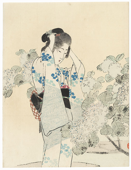 Beauty with Hydrangeas Kuchi-e Print by Toshimine (1863 - 1934)