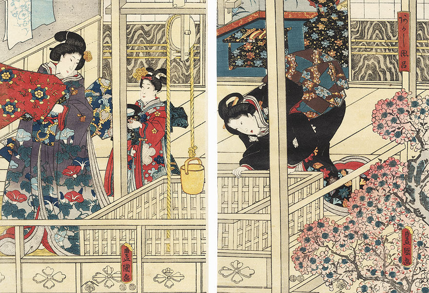 The Akashi Bathhouse, 1847 - 1852 by Toyokuni III/Kunisada (1786 - 1864)