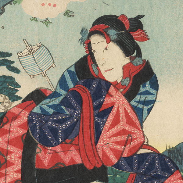 The Beauty Omiwa and the Samurai Motome by Yoshitaki (1841 - 1899)