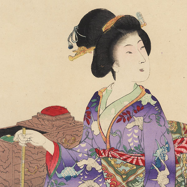 Sewing by Chikanobu (1838 - 1912)