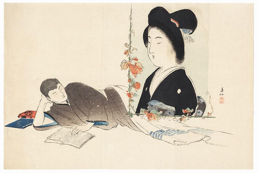 Man Daydreaming Kuchi-e Print by Kumon Kikusen (1873 - 1945)