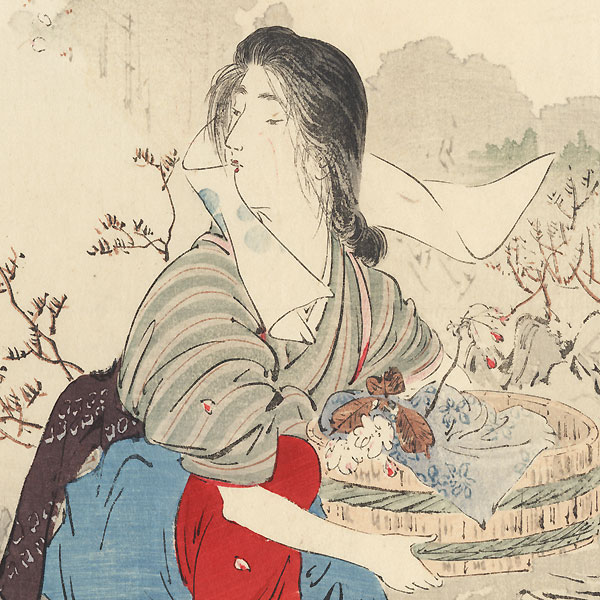 Spring Water Kuchi-e Print, 1909 by Toshimine (1863 - 1934)