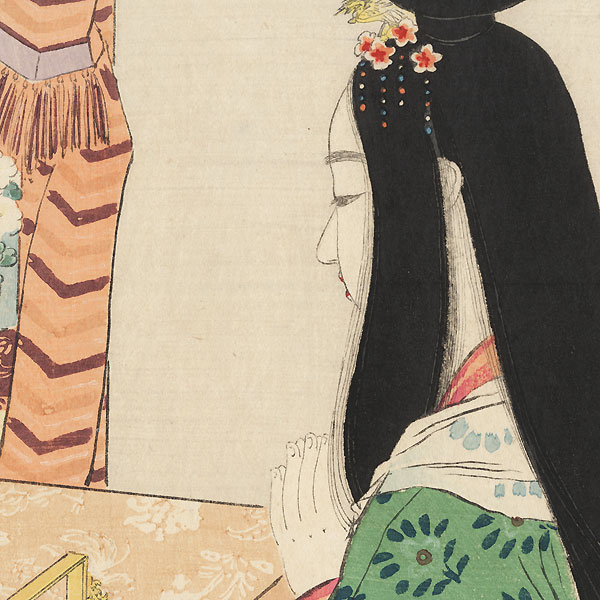 An Offering to Buddha Kuchi-e Print, 1908 by Terazaki Kogyo (1866 - 1919)