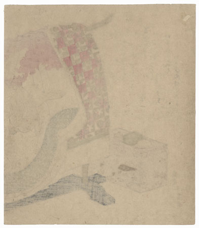 Robe with a Rabbit and Wave Design Surimono by Hokkei (1780 - 1850)