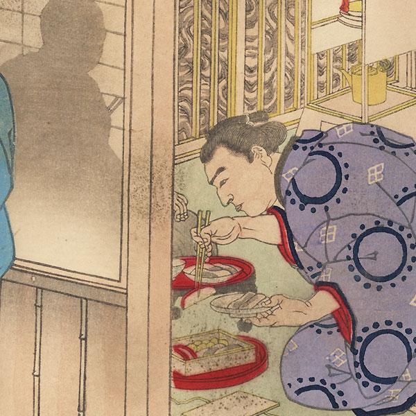 Sumo Wrestler Visiting a Rival by Kuniaki II (1835 - 1888)