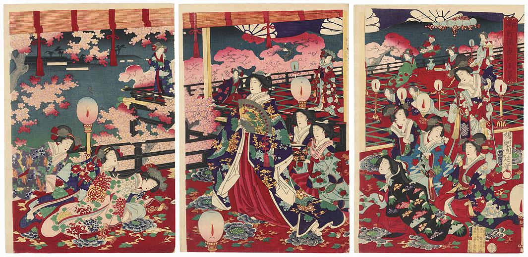 Cherry Blossom Viewing at Night by Chikanobu (1838 - 1912)