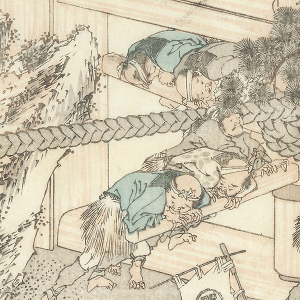 Turning a Capstan by Hokusai (1760 - 1849)