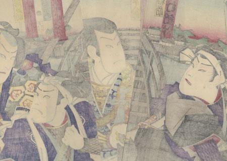 Confrontation at a Bridge, 1872 by Kunichika (1835 - 1900)