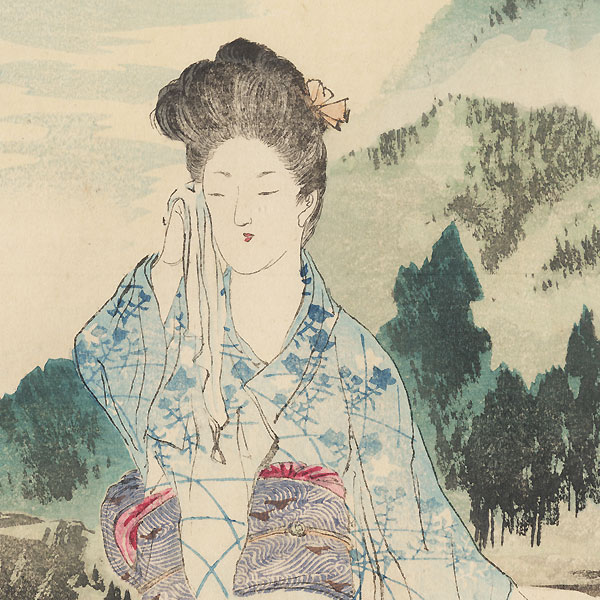 Beauty at a Resort Kuchi-e Print by Mishima Shoso (1856 - 1928)