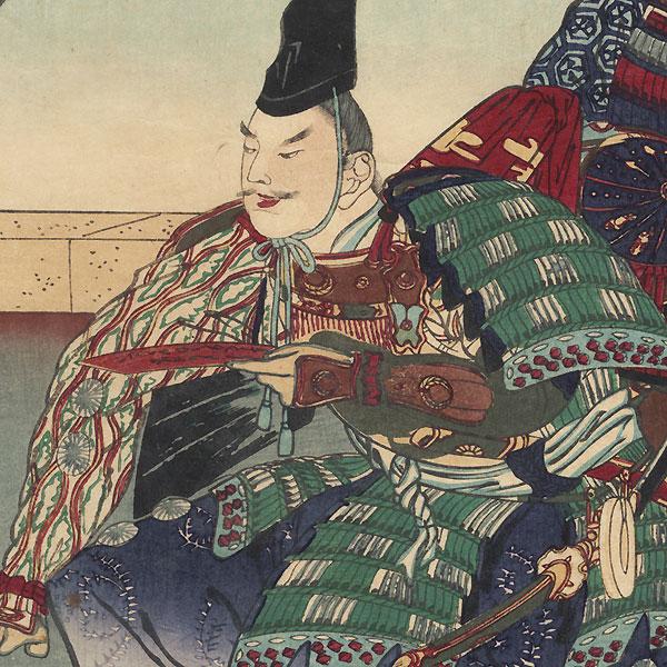 Samurai with a Poem Slip, 1876 by Meiji era artist (unsigned)