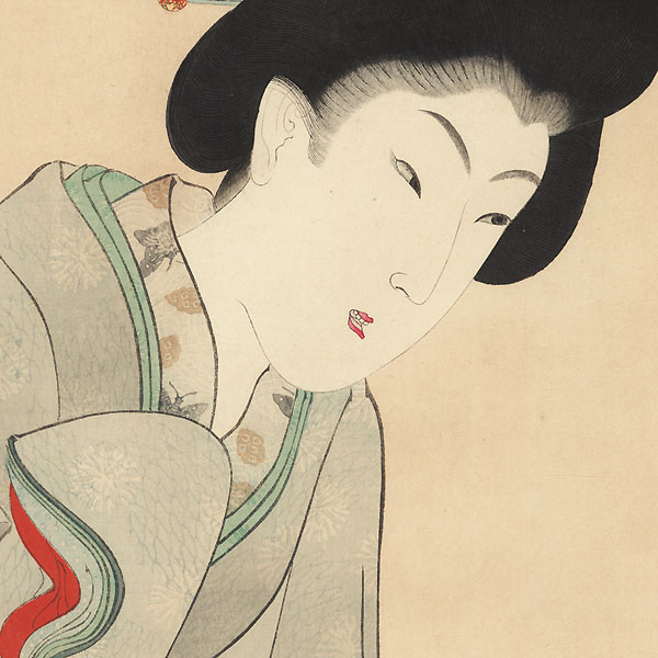 Beauty Looking over a Railing by Chikanobu (1838 - 1912)