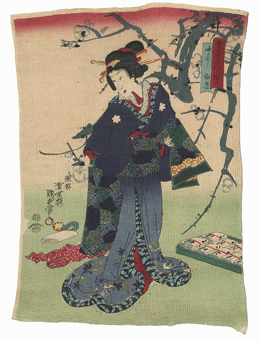 Beauty and Blossoming Plum by Kunisada II (1823 - 1880)