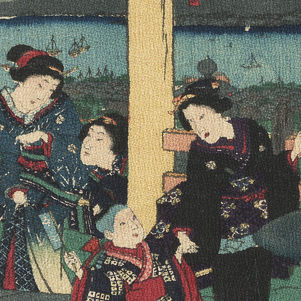 Visiting a Shrine by Kunichika (1835 - 1900)