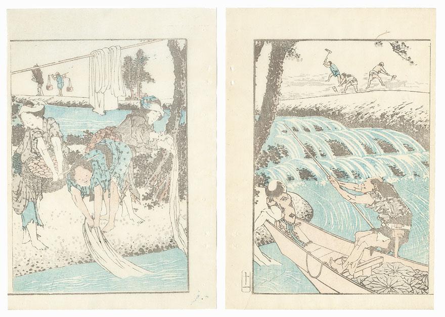 Washing Cloth by Hokusai (1760 - 1849)