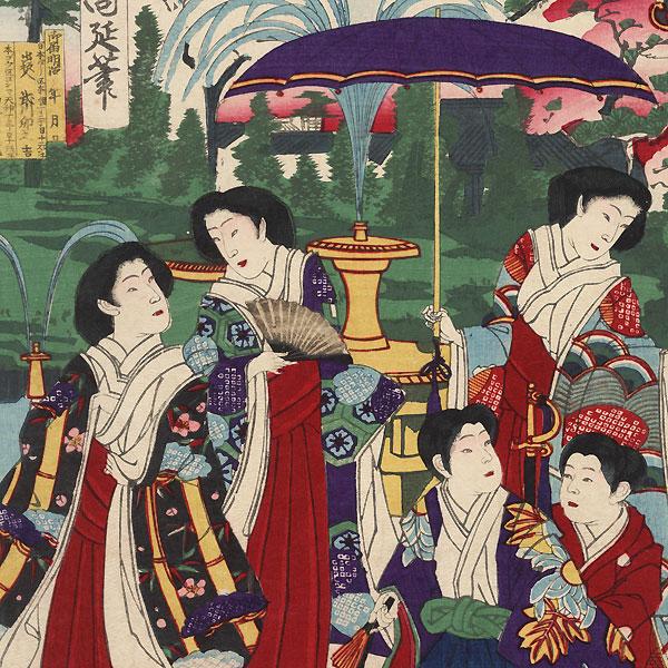 The Emperor Visiting Yasukuni Shrine by Chikanobu (1838 - 1912)
