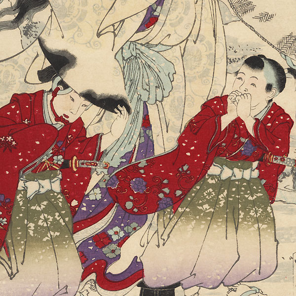 Yamashiro, Snow at Fushimi, Lady Tokiwa, Otowaka, Ushiwaka, and Imawaka, No. 3 by Chikanobu (1838 - 1912)