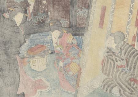 Iwafuji Berating Onoe, 1855 by Toyokuni III/Kunisada (1786 - 1864)