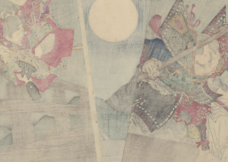 Ushiwaka and Benkei Dueling on Gojo Bridge: An Episode from the Chronicles of Yoshitsune, 1881 by Yoshitoshi (1839 - 1892)