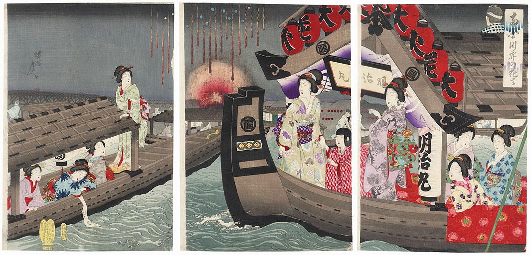 Fireworks at the Ryogoku River Festival by Chikanobu (1838 - 1912)