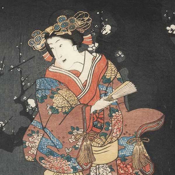 Enjoying Plum Blossoms in the Spring Mist, 1858 by Toyokuni III/Kunisada (1786 - 1864)